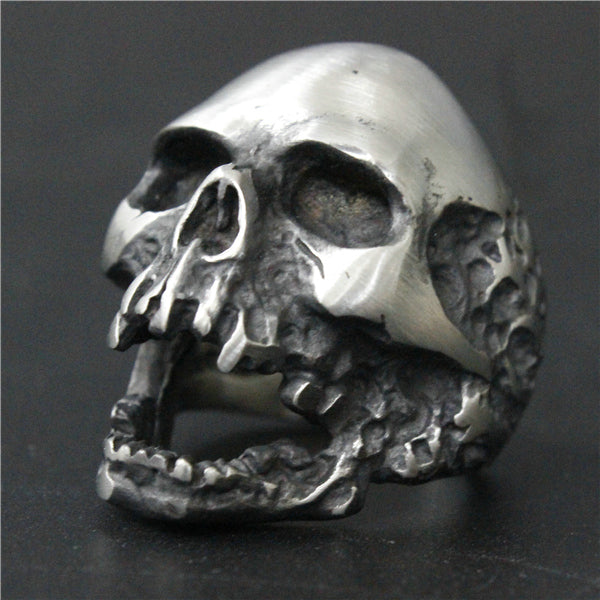 Size 7~15 Heavy Dull Polishing Death Skull Ring Big Month 316L Stainless Steel Jewelry Real Cool Skull Biker Ring