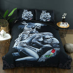 Red Rose Beauty Kiss Skull Duvet Cover Set