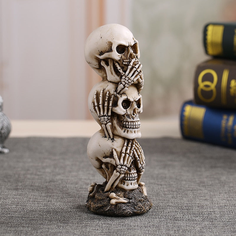 Skull Statue Sculpture Halloween Vintage Home Decoration Accessories