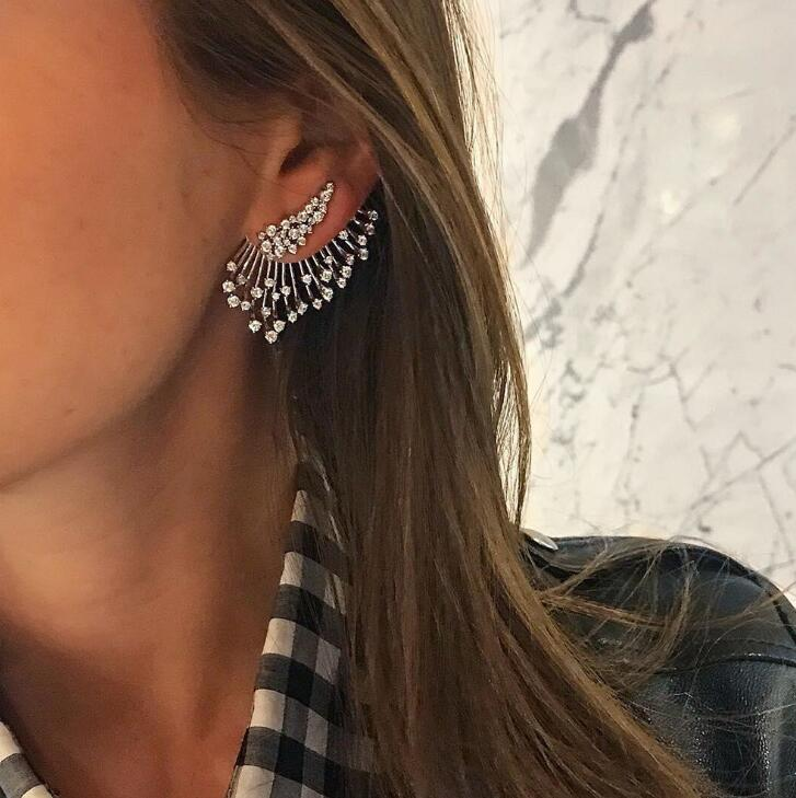 Statement Crystal Stud Earrings For Woman Punk Rock