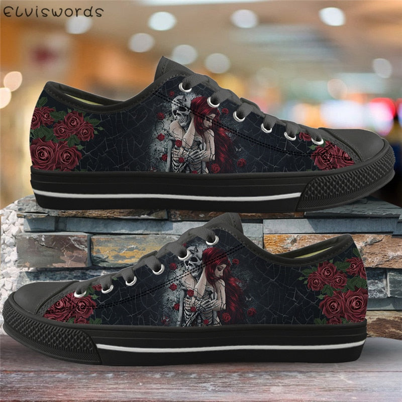 Gothic Skull Girl 3D Print Canvas Shoes Comfortable Mesh Vulcanized Shoes for Ladies Lightweight Low Top Flat Shoes