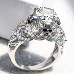 Gothic Skull Luxury Style Engagement Wedding Classic Silver Color CZ Crystal Rings For Women Fashion Jewelry Gift Ring