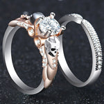 Silver Classic Double-deck Gothic Skull Style Engagement Colour Crystal Zircon Rings For Women Trendy Jewelry Gift Ring