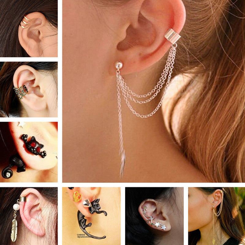 Stud Earrings For Women Feather Tassel Cat Star Spider Brincos Ear Cuff Fashion Jewelry 2018