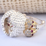 Elegant Rose Zircon Stone Skull Rings Female White Gold Filled Jewelry Unique Women's Wedding Engagement Rings Gift