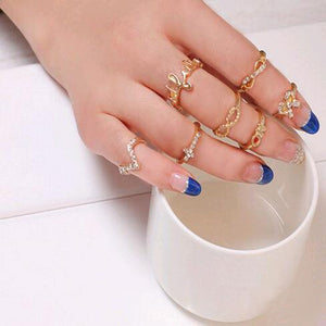 New 1 Set 7 pcs Women's Rhinestone Bowknot Knuckle Midi Mid Finger Tip Stacking Rings