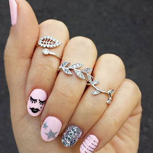 New Cute Sweet Style Crystal Rhinestone 3pcs\set Leaf Crown Cross Midi Knuckle Finger Joint Rings women