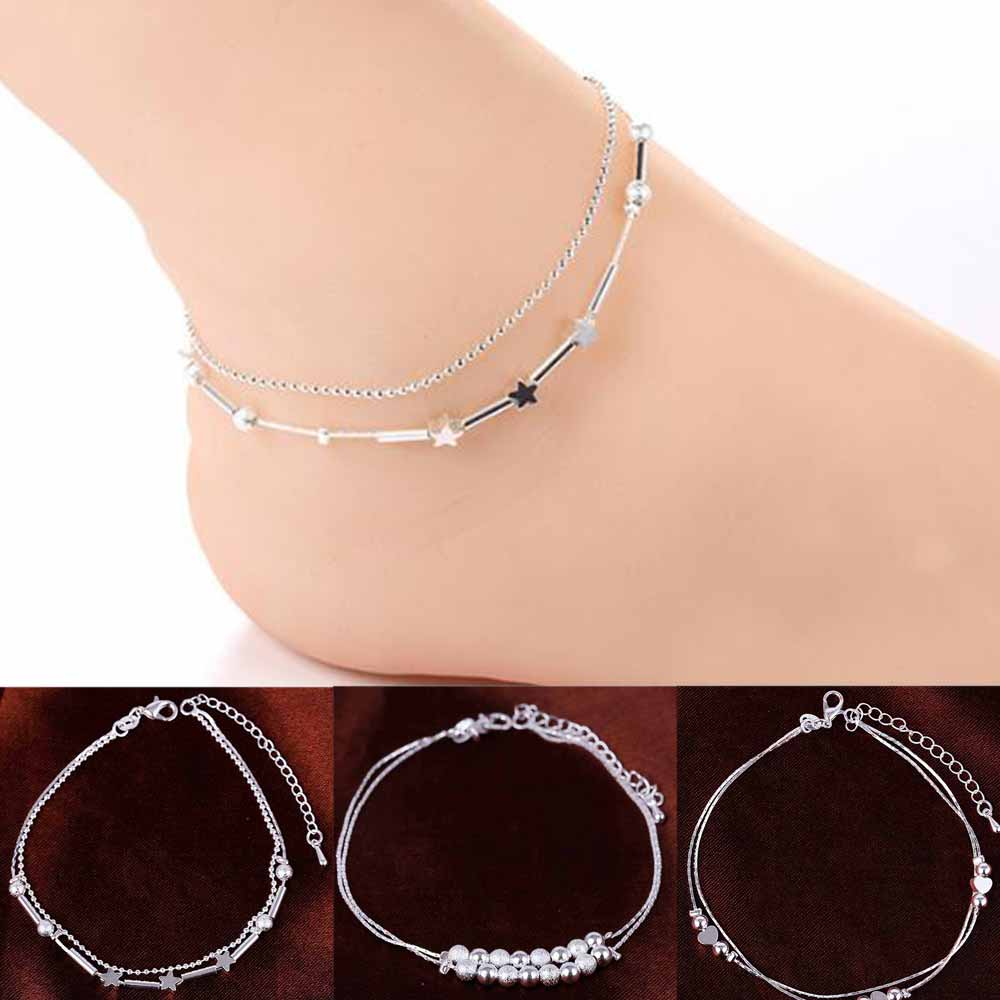 Fashion Women 925 Chain Anklet Bracelet Barefoot Sandal Beach Foot Jewelry Jewelry Gifts