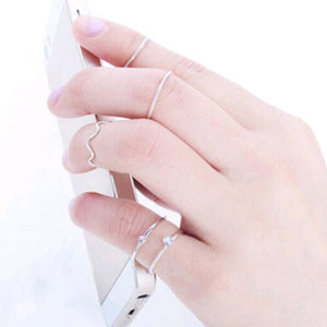 5 pieces. Set the brightness of cute Chic style crystal rhinestone midi fist finger joint ring women ring