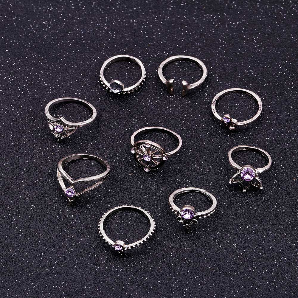 9 Pcs/set Bohemian Mermaid Tail Compass Yoga Water Drop Hollow Carved Women Ring Set