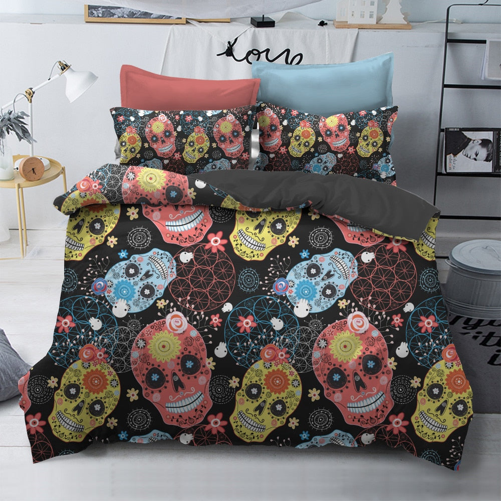 Sugar Skull King Size Bedding Sets Skull Duvet Cover with Pillowcases