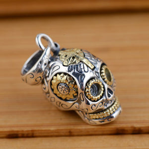 925 Silver Skull Pendant 100% Pure S925 Solid Thai Silver Skeleton Pendants for Women Men Jewelry Making
