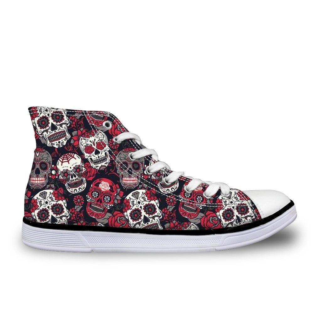 Trendy Sugar Skulls Pattern Women Sneakers Summer Autumn High Top Shoes