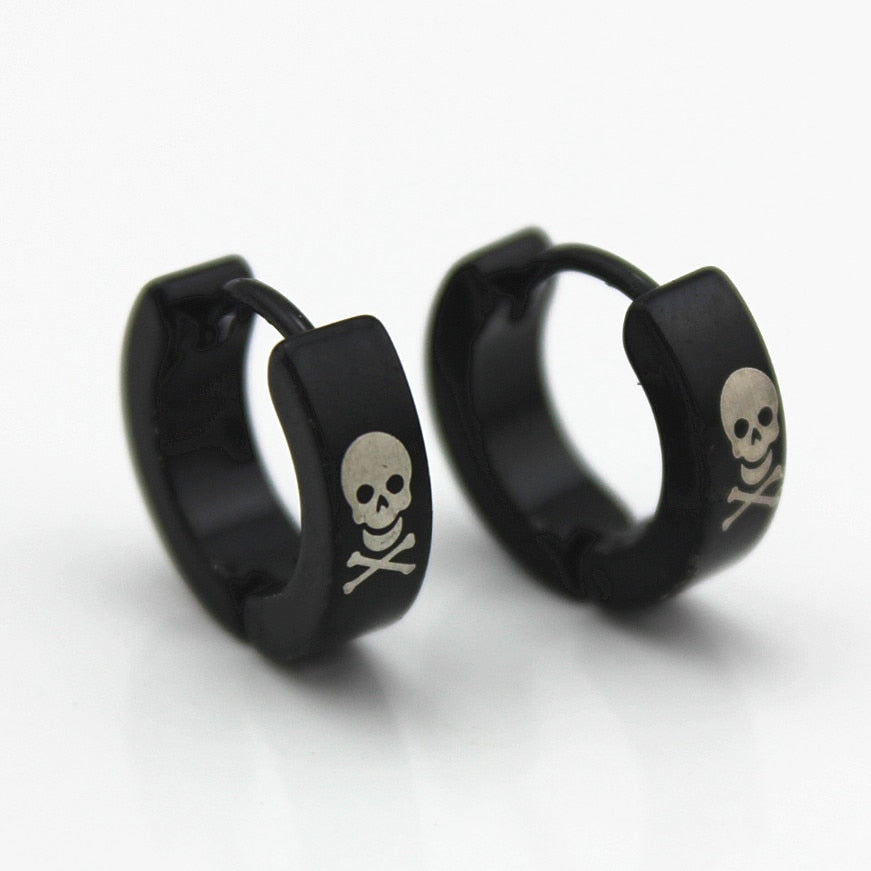 Factory Price Men Earrings Black Skull Titanium Earrings 316L Stainless Steel Stud Earrings Greek Key High Quality Wholesale