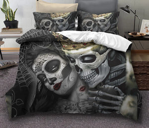 Sugar skull Bedding Sets king beauty kiss skull Duvet Cover