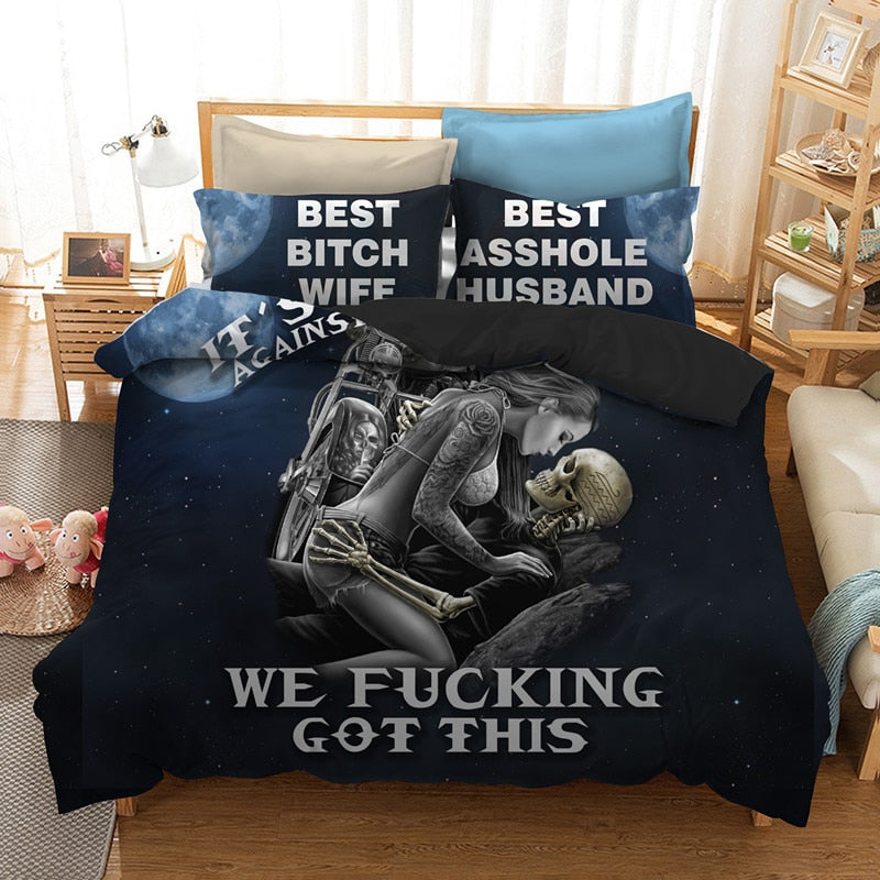 Black skull bedding set queen size 3d Couple kissing skull printed duvet Cover With Pillowcases