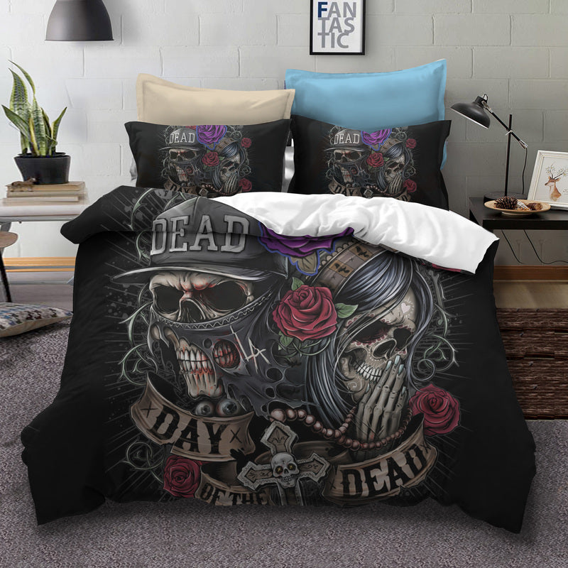 Flower sugar Skull Bedding Sets 3D dead skull Duvet Cover set Bed