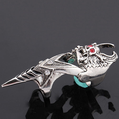 Fashion Gothic Punk Skull Joint Knight Finger Titanium Steel Ring Men Jewelry