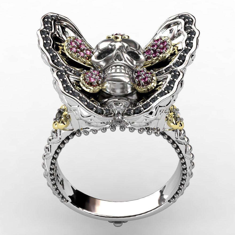 Fashion Gothic Style Butterfly Skull Ring for Men and Women Biker Jewelry