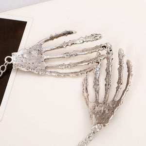 Fashion Halloween Jewelry Collares Vintage Punk Gothic Skull Bone Hand Claw Long Pendant Necklace Women Chains Accessories