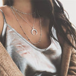 Fashion Metal Beads Chain Choker Necklace for Women Multilayer Moon Pendant Necklace Boho Beach Collar Jewelry Christmas Gift