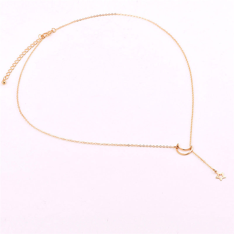 Fashion Moon Star Pendant Boho Choker Necklaces Gold Color Clavicle Chain Collar Necklace For Women Kolye Jewelry Collier Bijoux