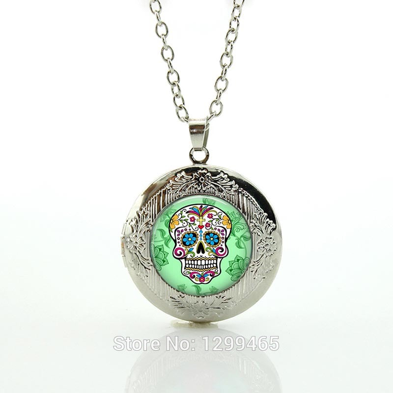 Fashion Necklace,Sugar Skull Silver Finish Pendant Necklace,Handmade Long Necklace,Day of The Dead Jewelry  locket pendant