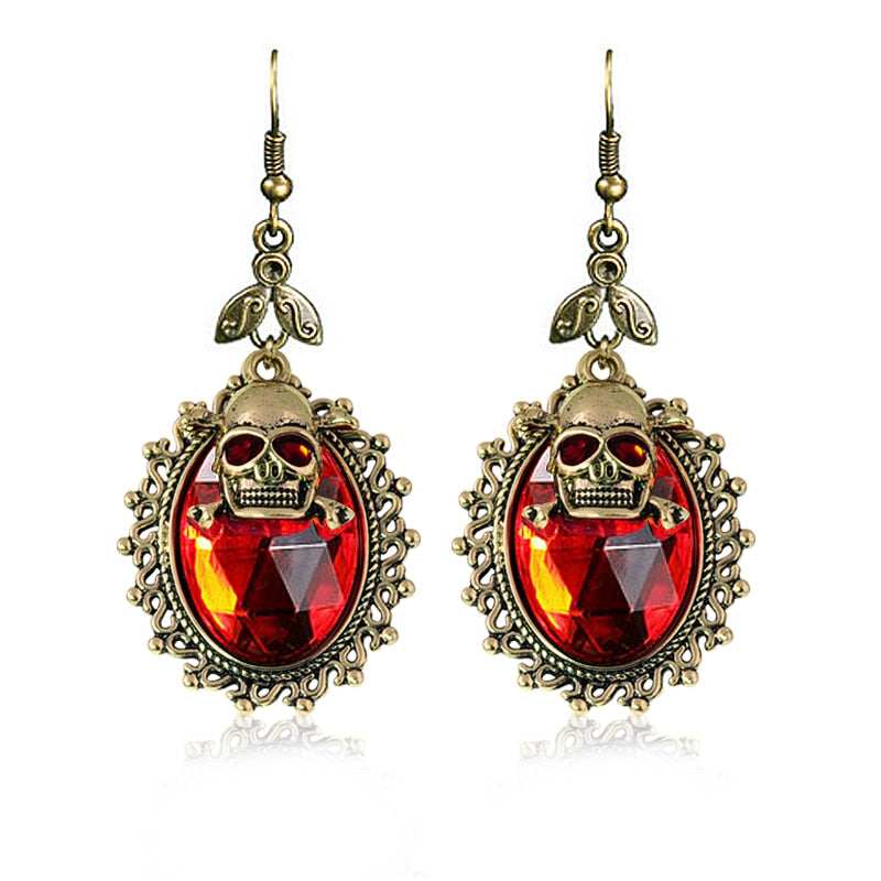 Fashion Retro skull Punk Ancient bronze plating Double layer skull head big Acrylic earrings for women and men Halloween party