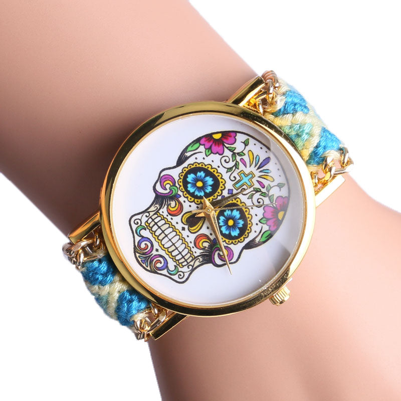 Fashion Sugar Skull Bohemian Stainless Steel Women Watch With 4 Colors Fabric Band For Gifts