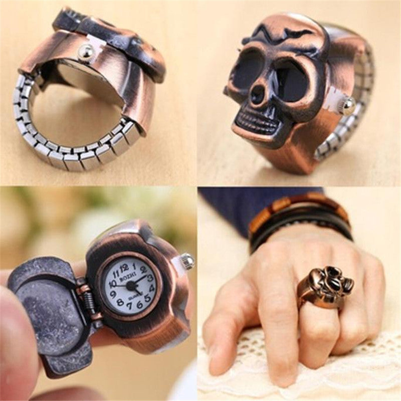Fashion Unisex Retro Vintage Finger Skull Ring Watch Clamshell Watch