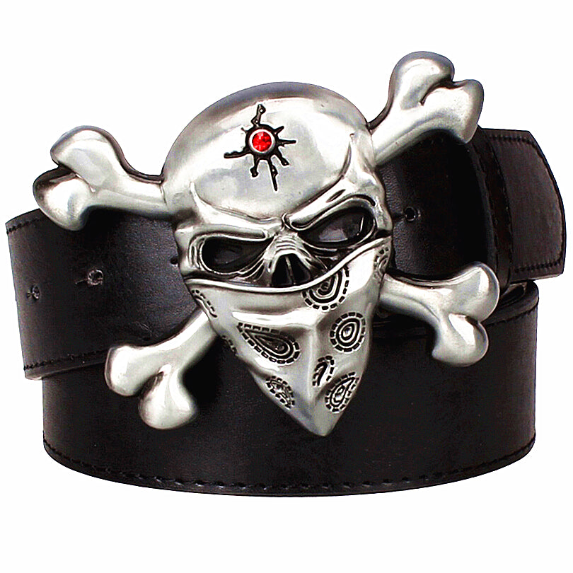 Fashion Wild men leather belts metal buckle retro Devil Skull belt bold hip hop Street Dance belt exaggerated shape