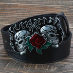 Fashion leather belt skull head skeleton man women wear big buckle skull face rose punk style heavy metal rcok belt Ghost head