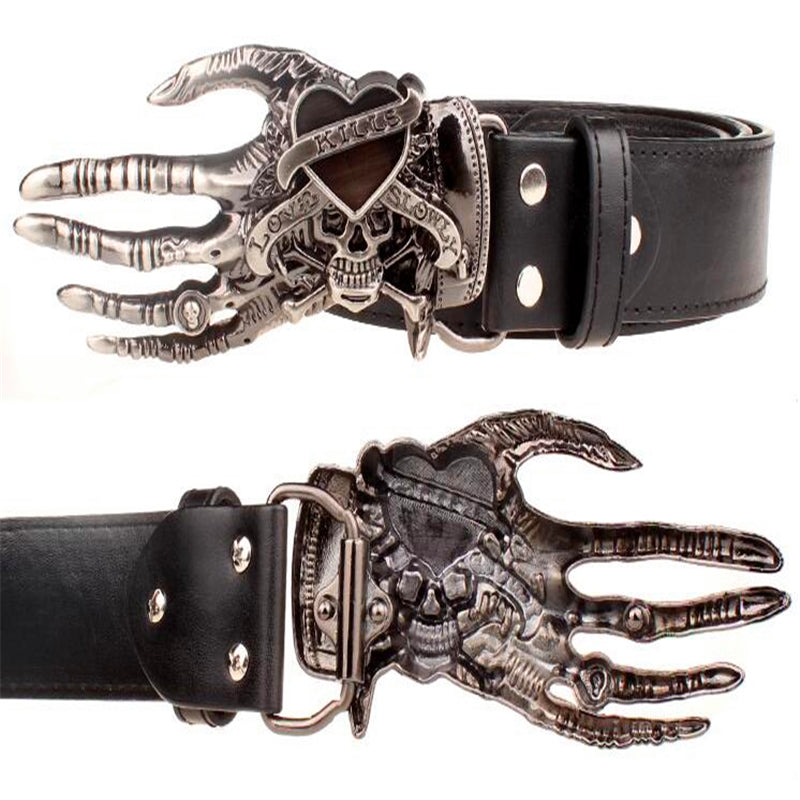 Fashion men belt skull hand buckle Skeleton hand bone punk rock love kills skull belt pu leather hip hop belts