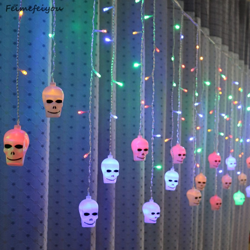5m 216 leds Skull And Crossbones Fairy Lights LED Curtain String Lights Indoor Christmas Party Decoration