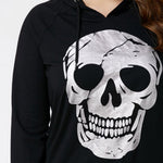Feitong casual women's sweatshirt  hoodies fashion plus size clothing skull print tops sweatshirt hooded hoody tops blouse