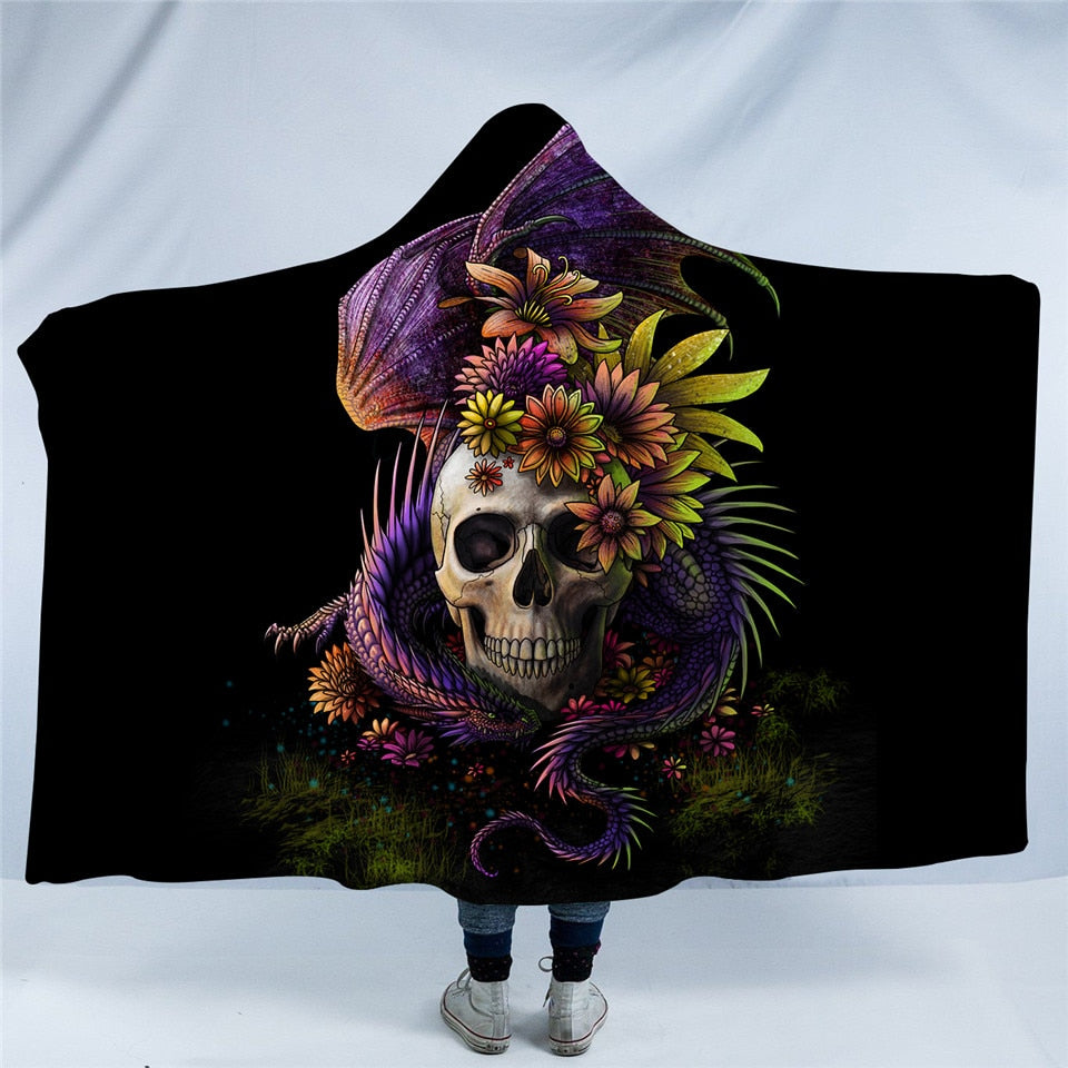 Flowery Skull by SunimaArt Hooded Blanket Flower Dragon 3d Printed Adults Kids Sherpa Fleece Wearable Throw Blanket Microfiber