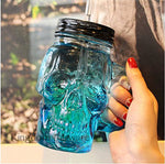 500ml Colored Skulls with the Glass Beer Mug Large Beer on Draft a Mason Jar Novelty Heavy Base Glass Skull Face