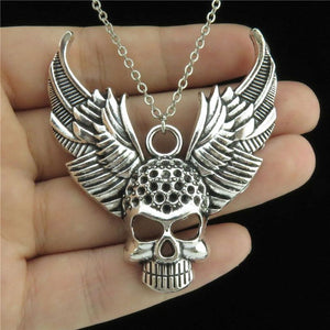 Women Girl Jewelry Silver Alloy Pendant Short Chain Collar Chunky Wing Keleton Skull Necklace 18""