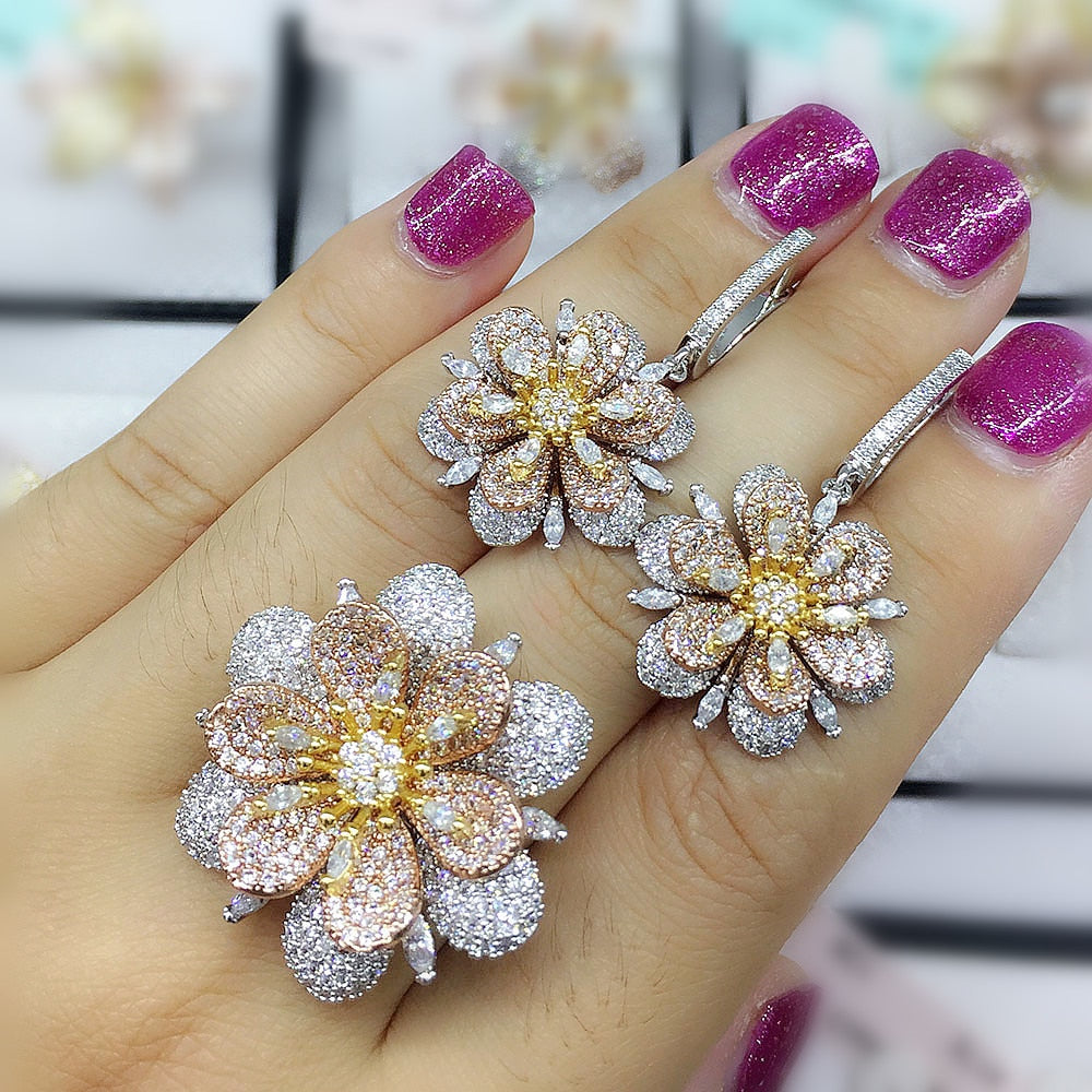Fashion Luxury Super Shiny Gold Color AAA Cubic Zirconia Women Width Baguette Earring Ring Set