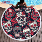 Colorful Sugar Skull Pattern Round Beach Towel