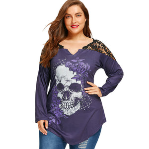Women Plus Size T-Shirt 5XL Lace Crochet Skull Print Asymmetrical Graphic Tees Sexy T Shirts Long Sleeve Loose Tops