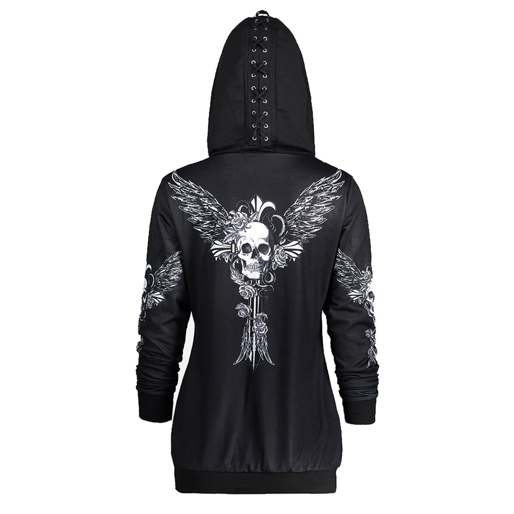 Hoodies Sweatshirt Women Lace Up Hat Skull Wings Print Zip Up Hoodie Punk Style Femme Casual Hooded Pullover Women Top