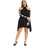 Gamiss Plus Size XL-5XL Cold Shoulder Skulls Dress Women Autumn Mock Neck Long Sleeve Cut Out Dress Casual Vestidos De Festa