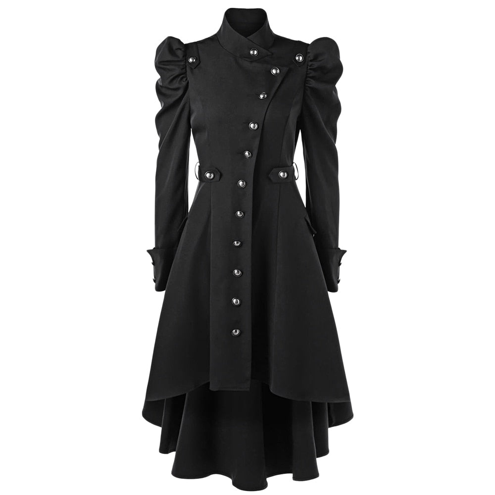 Women Winter Puff Shoulder Button Up Dip Hem Trench Coat New Fashion