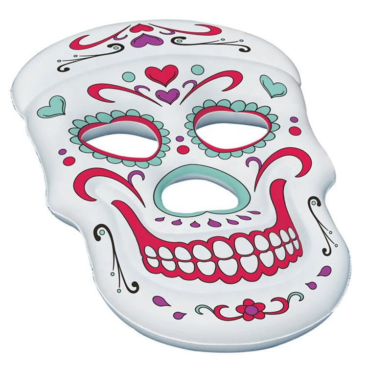 1000 pcs Giant Inflatable Sugar Skull Pool Float, Inflatable Sugar Skull Air Lounge