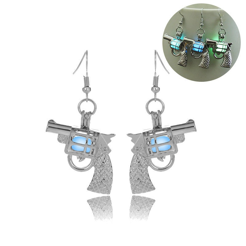 Glowing Gun Earrings Glow In The Dark Cowgirl Gypsy Pistol Earrings
