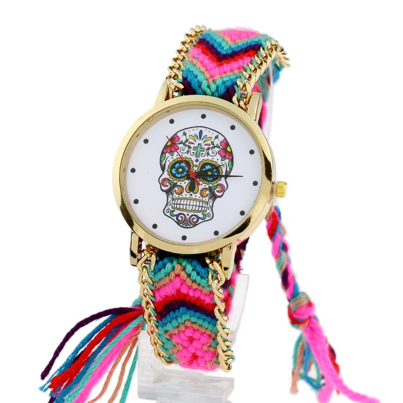 Women vintage Mexican Catrina Style Skull Fashion wristwatch Lace Golden Braided