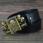 Golden skull Novelty cigarette lighter belt men's leather belt lighter buckle metal lighters Kerosene lighter belt for men gift