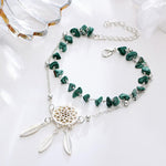 Grace Moments Bohemia Handmade Irregular Stones Anklet For Women Lucky Dreamcatcher Alloy Chain Summer Beach Foot Jewelry