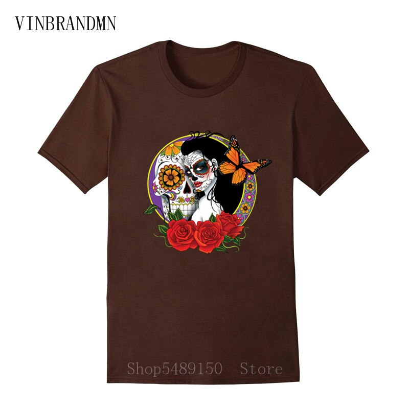 Strange Day Of The Dead T Shirt Sugar Skull Girl With Rose Tattoo T-Shirt Cool Fashion Summer Clothes For Men Boys Horror Tshirt